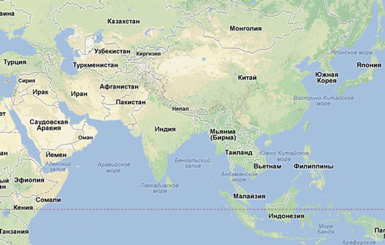 Карта Азии