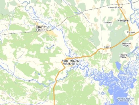 Карта г.Припять и г.Чернобыль.