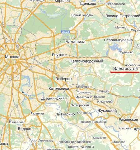 Карта города Электроугли.