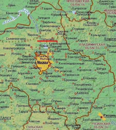 Карта города Хотьково.