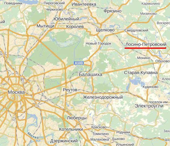 Карта города Лосино-Петровский.