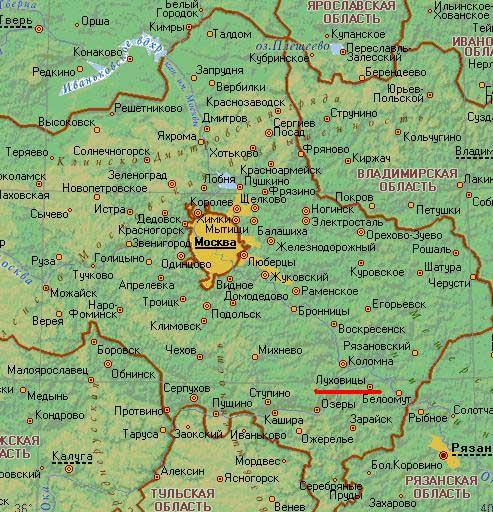 Карта города Луховицы.