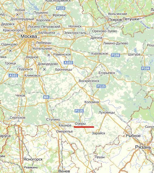 Карта города Озеры.