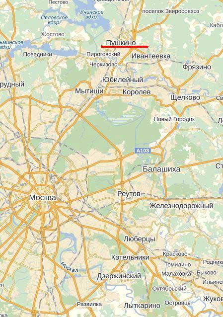 Карта города Пушкино.