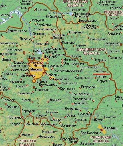 Карта города Рошаль.