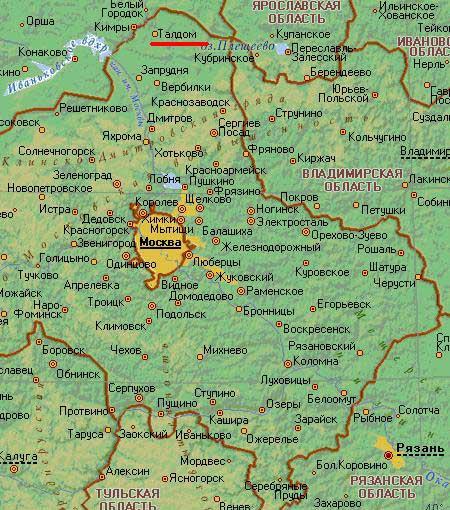 Карта города Талдом.