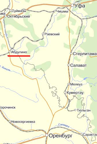 Карта  города Абдулино