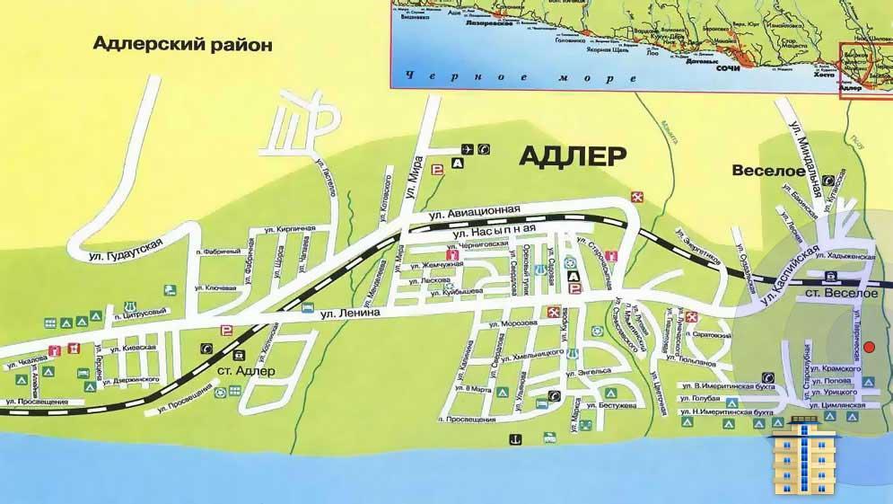Подробная карта Адлера
