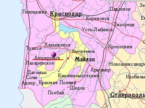 карта города белореченска