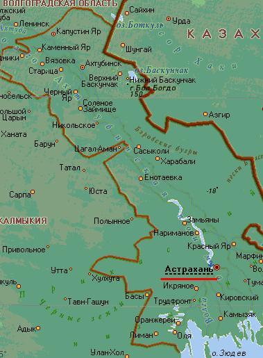 Карта города Астрахань