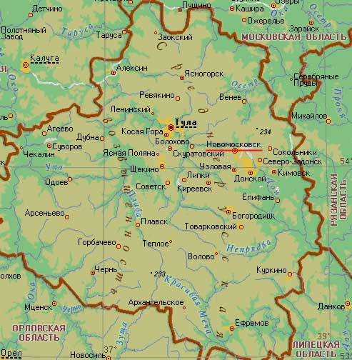 Карта города Новомосковск