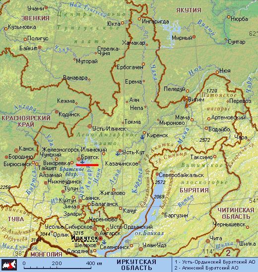 Карта города Братск