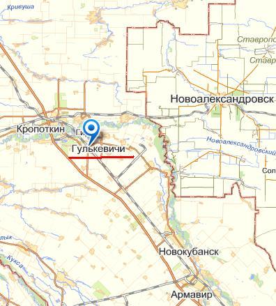 карта города Гулькевичи с