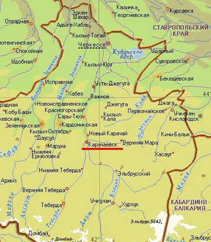 Карта города Карачаевск