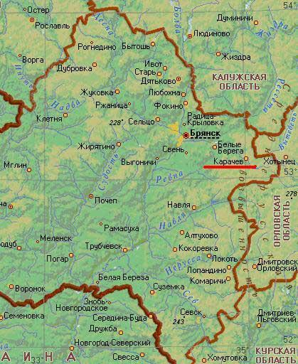 Карта города Карачев