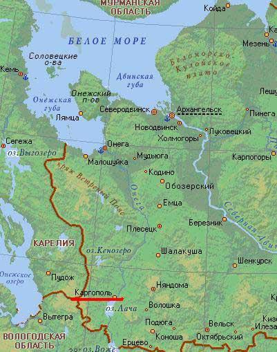 Карта города Каргополь