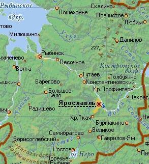 Карта города Ярославль.