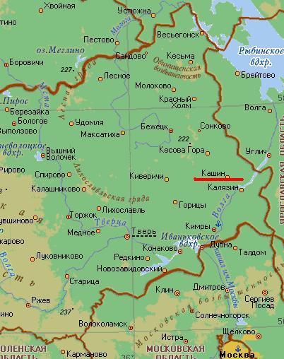 Карта города Кашин