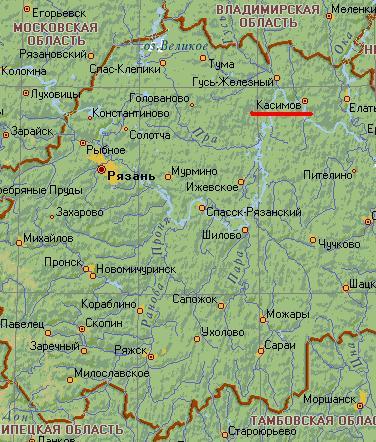 Карта города Касимов