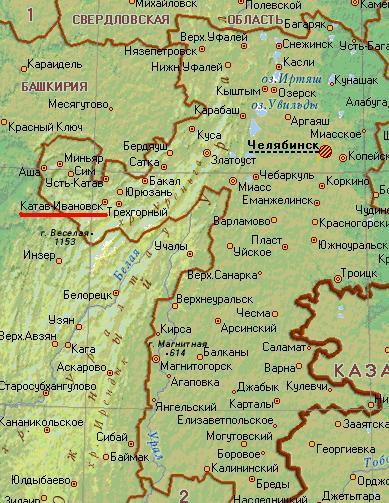 Карта города Катав-Ивановск