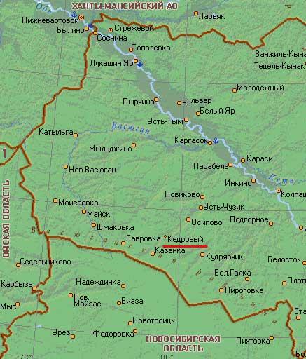 Карта города Кедровый