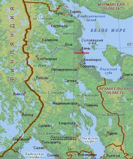 Карта города Кемь.