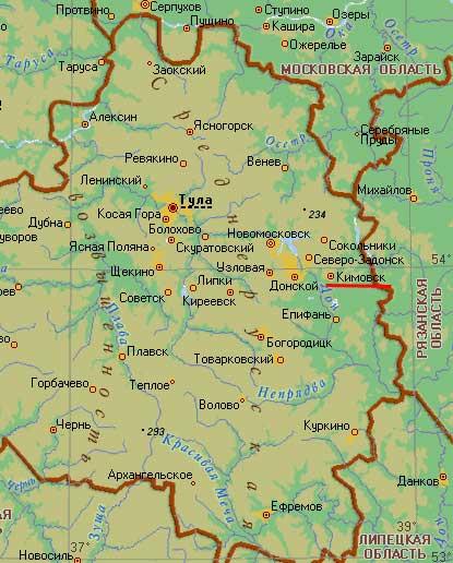 Карта города Кимовск.