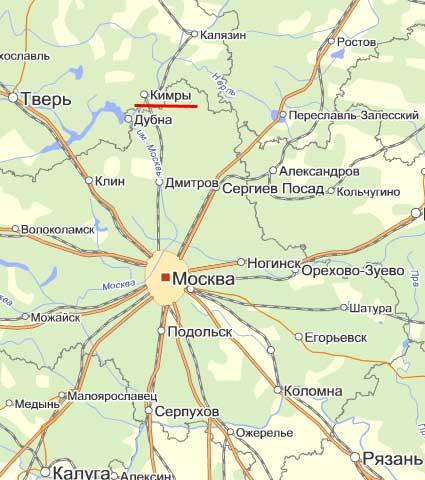 Карта города Кимры.