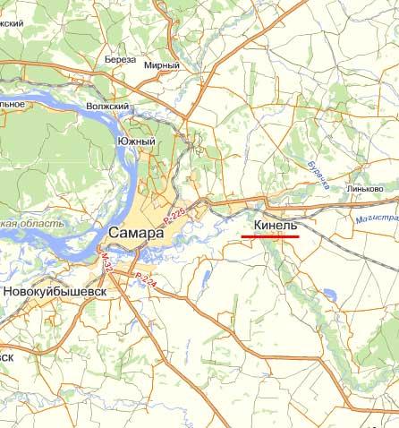 Карта города Кинель.