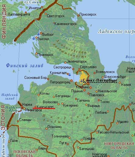 Карта города Кингисепп.