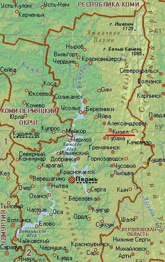 Карта города Кизел.