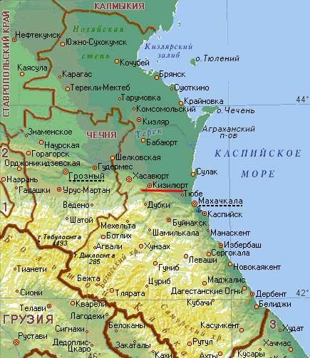 Карта города Кизилюрт.