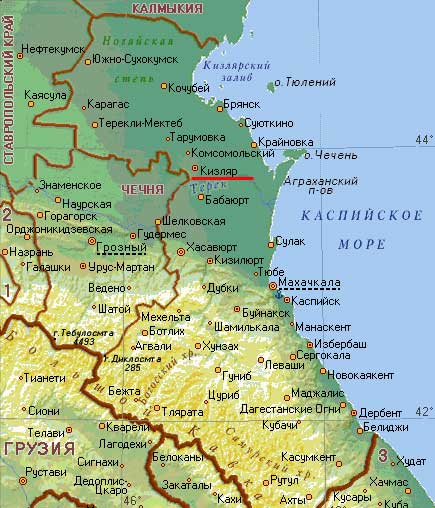 Карта  города Кизляр.