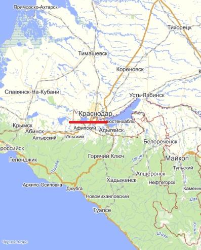 Карта  города Краснодар
