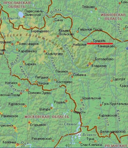 Карта города Суздаль