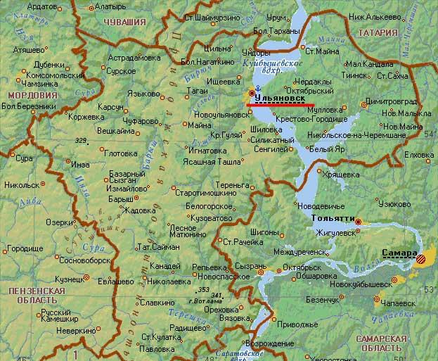 Карта города Ульяновск