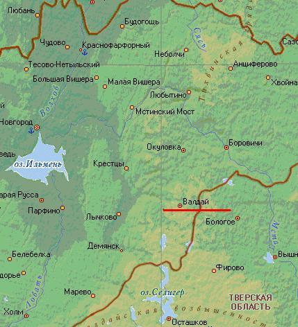 Карта города Валдай