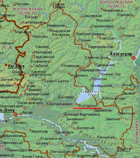 Карта города Волгодонск