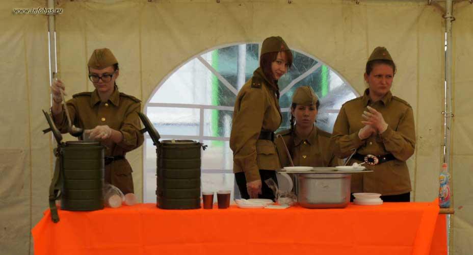 9 мая!  Празднование Дня Победы в Ярославле! Палатка, полевая кухня, пайка гречневая каша
