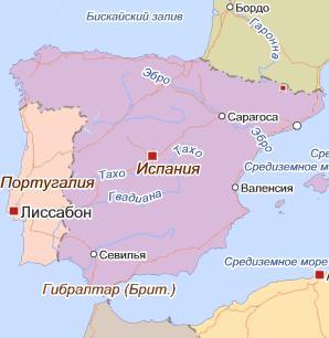 Карта Испании и Португалии