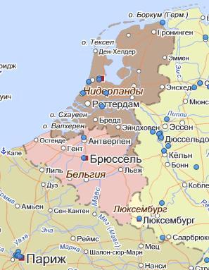 Карта Голландии и Бельгии