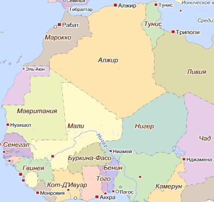 Карта страны Магриба