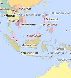 Карта стран Юго-Восточной Азии