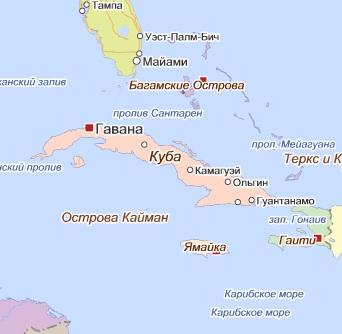 Карта Кубы