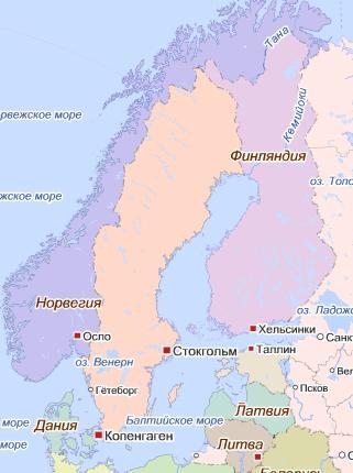 Карта Скандинавские страны