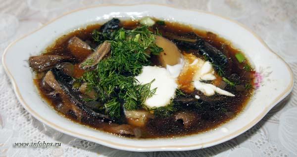 Кулинарные рецепты постных блюд. Суп с грибами.