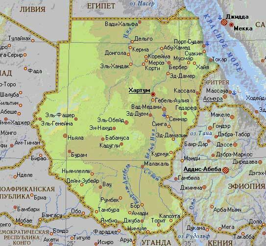 Карта Республики Судан