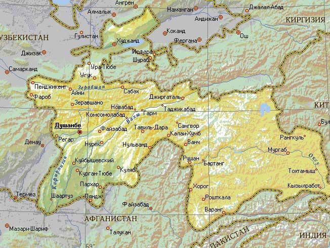 Карта Республики Таджикистан
